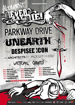 Unearth + Despised Icon + Parkway Drive + Architects + Protest the Hero + Whitechapel + Carniflex – 17 novembre 2008 – Locomotive – Paris