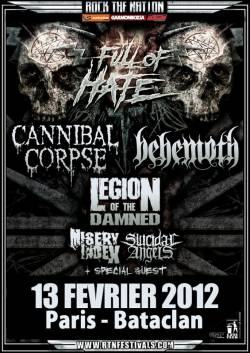 Cannibal Corpse + Behemoth + Misery Index + Legion of The Damned + Suicidal Angels