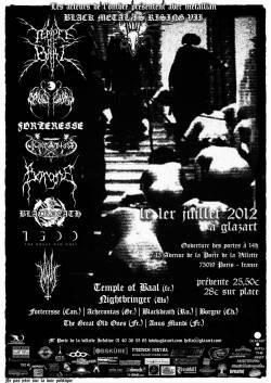 Temple Of Baal + Forteresse + Night Bringer + Acherontas + Black Death + Borgne + The Great Old Ones + Anus Mundi
