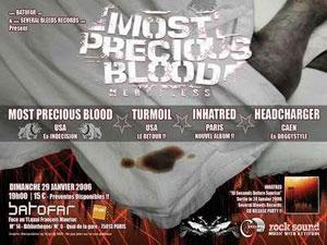 Most Precious Blood + Turmoil + Inhatred + Headcharger – 29 janvier 2006 – Batofar – Paris